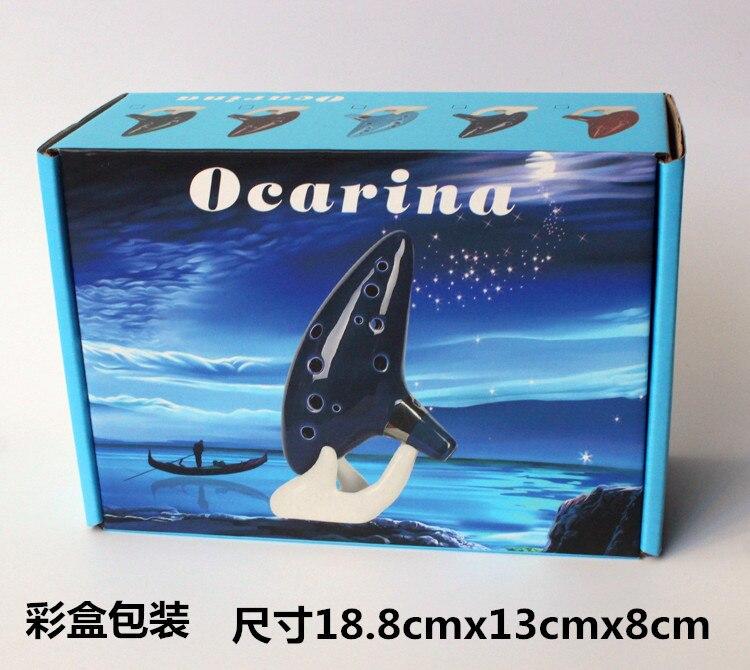 Ocarina Classical Blue 12 Holes Ocarina Alto C Music Instrument Bright Glaze Pottery Woodwind Instrument enlarge