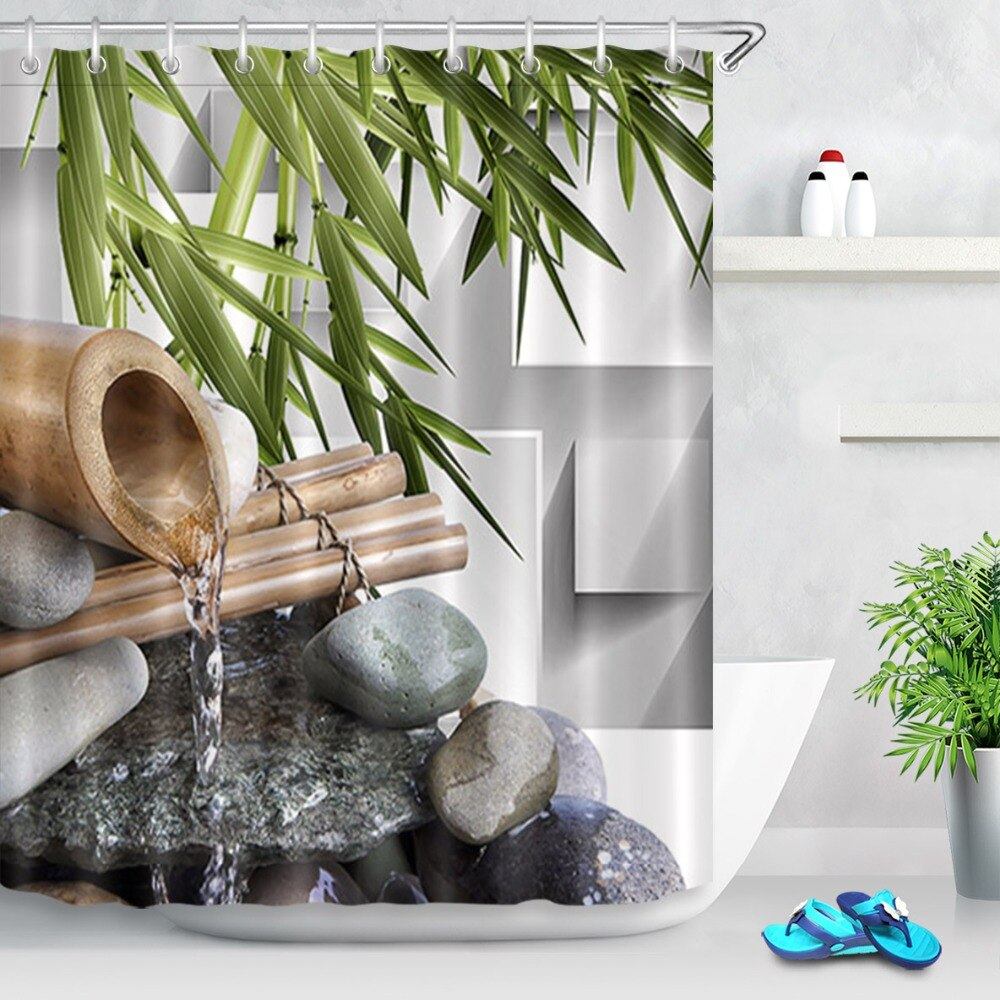 Cortina de ducha con piedras negras de agua Zen asiáticas de 72 , cortinas de tela de poliéster y bambú verde para baño, cortinas para bañera, decoración del hogar