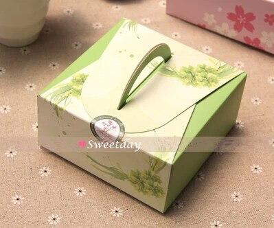 Frete grátis flor portátil caixa de bolo de sobremesa pequenas caixas de biscoito padaria suprimentos favorece pacote de presente