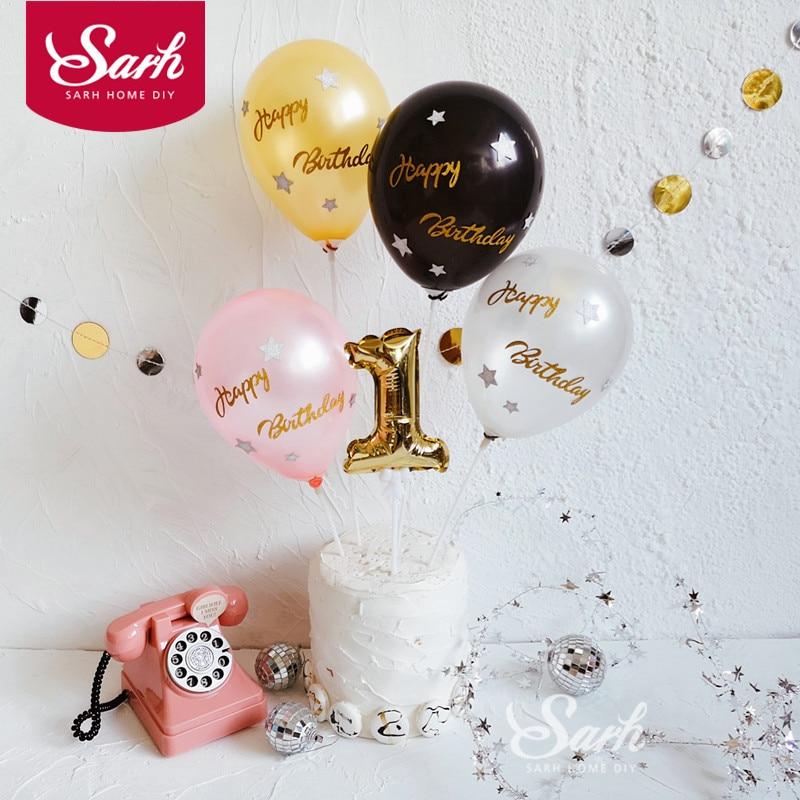 Preto rosa ouro prata glitter carta balão decorações do bolo de aniversário decorações para assar presentes bonitos
