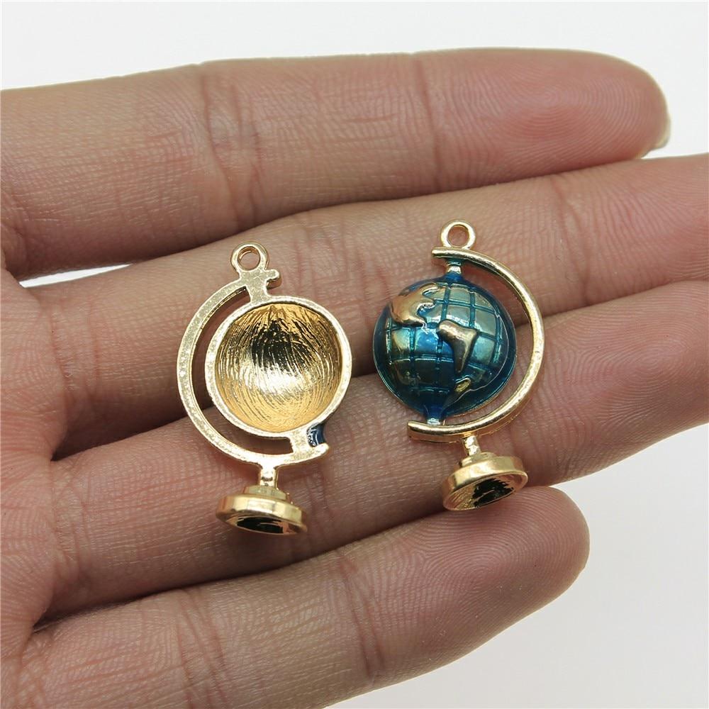 WYSIWYG Globe breloques pendentif bricolage bijoux résultats émail KC ton or 17x28mm 3 pcs/lot breloques pendentif bijoux accessoires