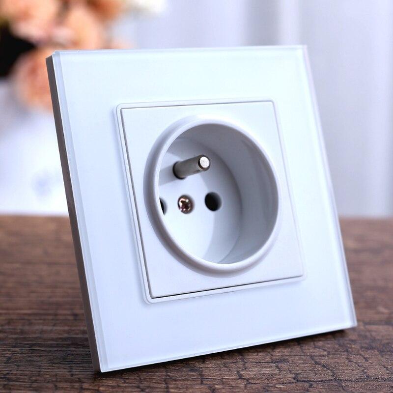 Interruptor de toma de corriente de pared estándar de Francia, enchufe de salida de panel de cristal blanco Schuko, toma de corriente de pared AC 110 ~ 250V 16A