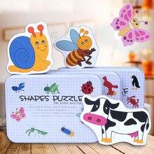 Jouets en bois pour enfants puzzles en bois pour enfants avec boîte en fer insectes ferme animaux Montessori jouets pour filles garçons MG149
