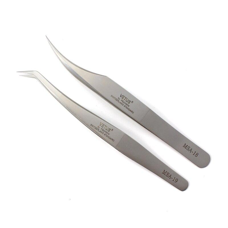 100% Оригинальные щипцы для наращивания ресниц Vetus MSA, высокоточные изогнутые щипцы из нержавеющей стали