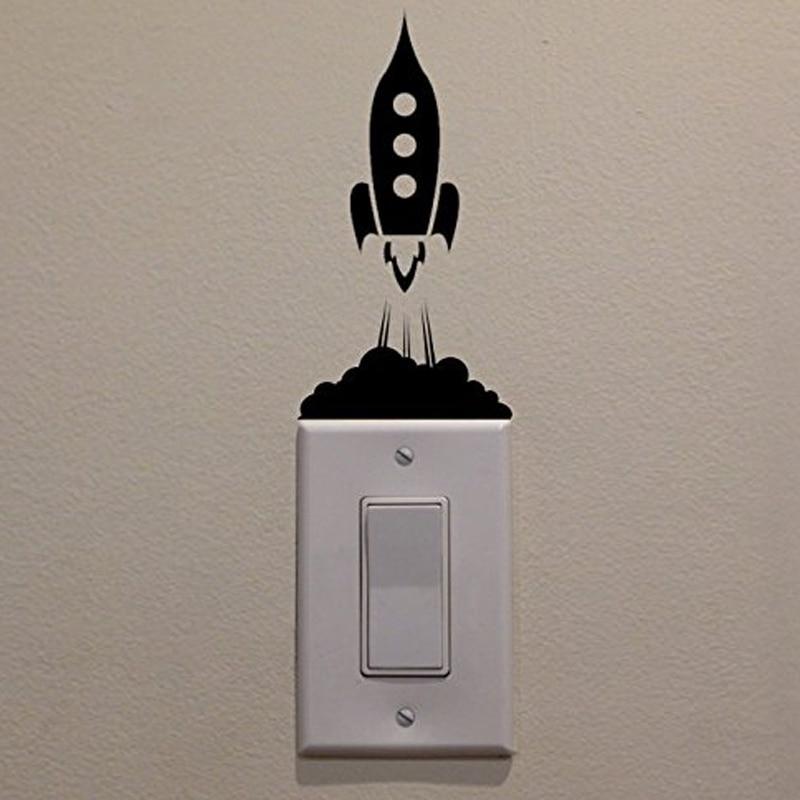 Adhesivo para interruptor de cohete de lanzamiento creativo, pegatinas decorativas para pared para sala de estar o dormitorio, murales impermeables de vinilo JG1401