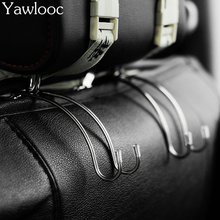 1 Pair Car Hanger Organizer Holder Auto Fastener Clip Car Seat Back Clips Handrest Hook for Bag Purse Stainless Steel