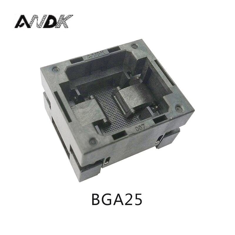 مقبس مبرمج BGA25 مفتوح من الأعلى 0.8 مللي متر ، مقاس IC 5*5 مللي متر BGA25(5*5)-0.8-TP01NT BGA25 VFBGA25