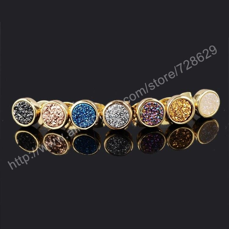 BOROSA 5Pair/ot 8mm Round Natural Crystal Druzy Stud Earrings Gold Color Druzy Stone Earrings Set gift for Women G0198