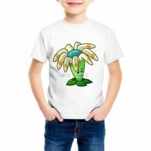 Детская футболка с героями мультфильмов «Plants vs Zombies», детская одежда для мальчиков-подростков, футболка для девочек, 55C-7