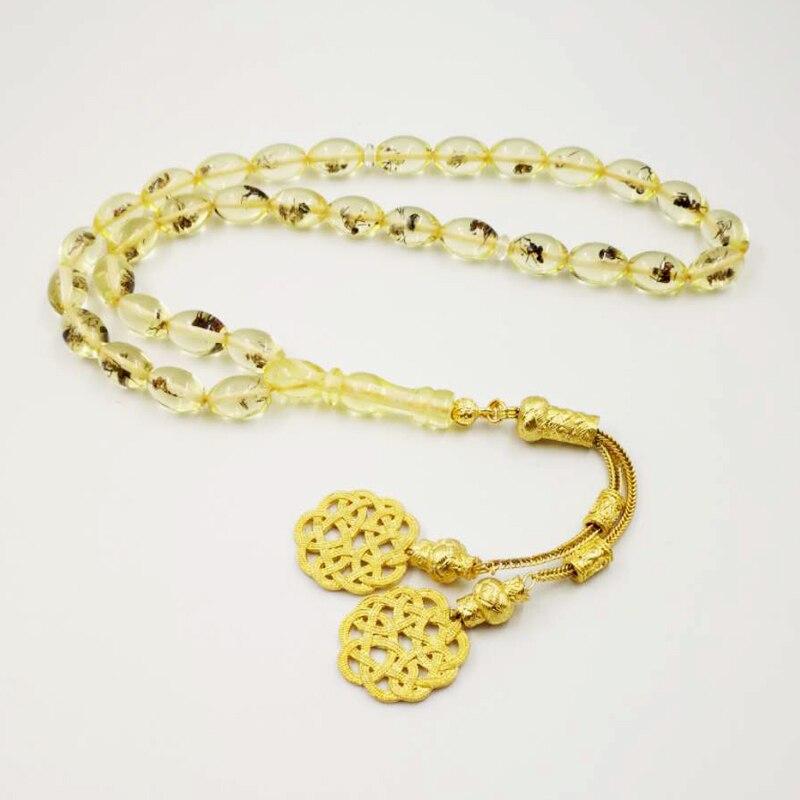 Настоящее насекомое 33 Tasbih Золотой Kazaz кисточка Eid подарок для мусульманских Молитвенные Четки из бусин мужской Misbaha исламский турецкий браслет из смолы