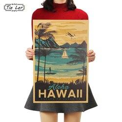 Etiqueta decorativa da parede da pintura do vintage 51x34cm gravata ler aloha havaí famoso turista paisagem pintura papel kraft