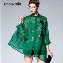 Haut de gamme vintage royal broderie floral soie femmes vert blouse chemise européenne piste 3/4 manches dame organza lâche chemise 3XL