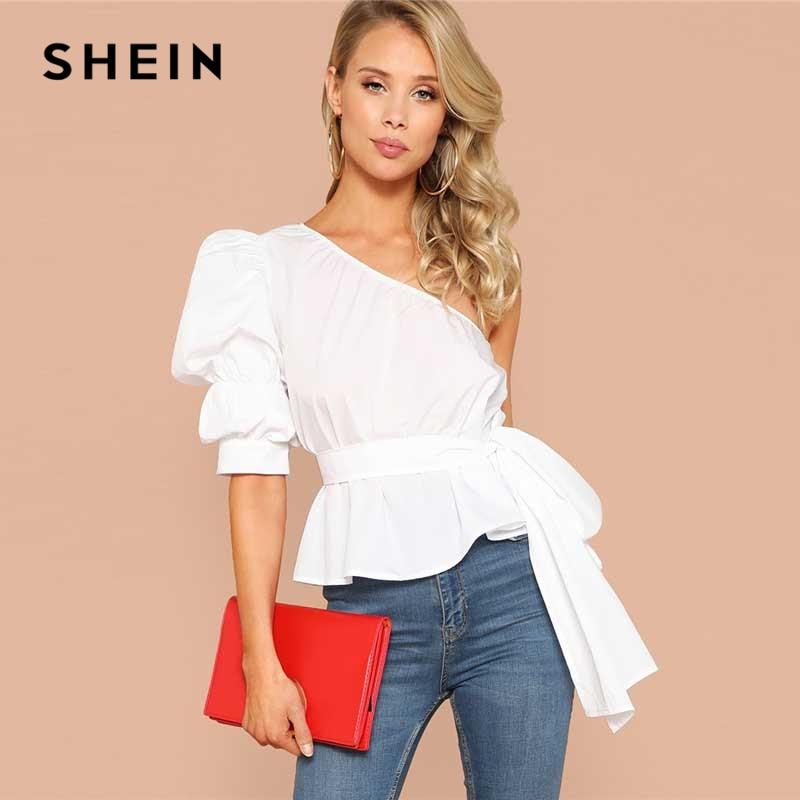 SHEIN Sexy un hombro Puff manga Peplum Knot Belted Top blusa mujeres verano 2019 sólido Ruffle elegante partido blusas