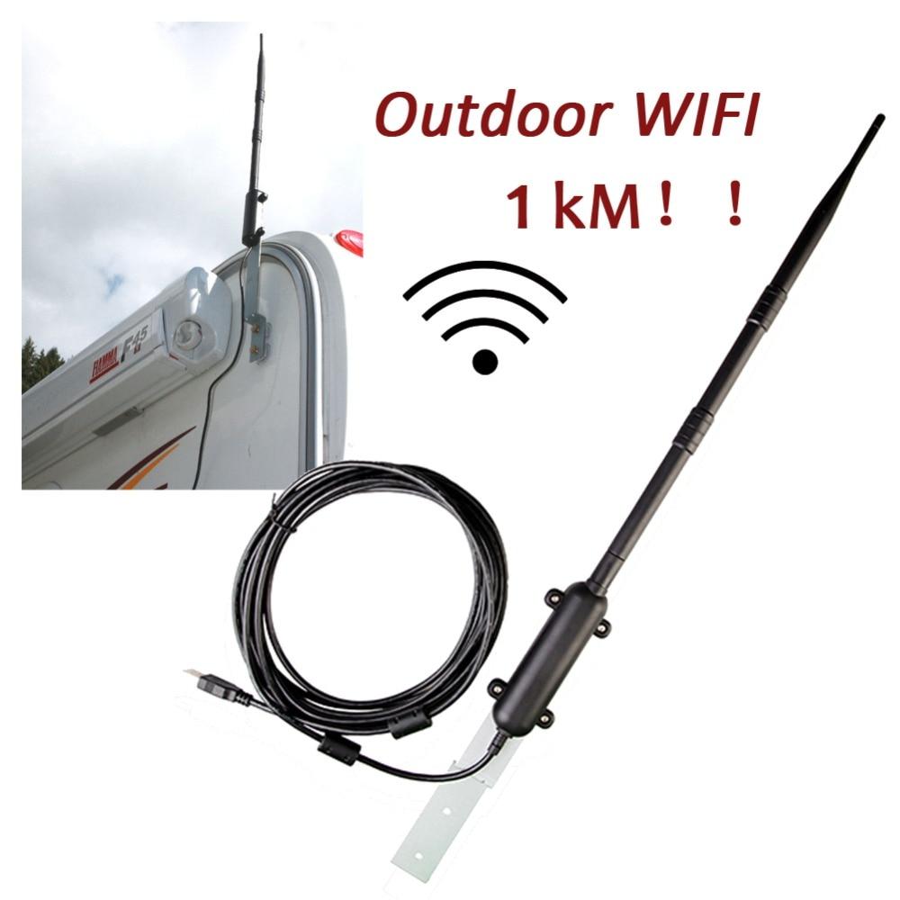Receptor de Wifi al aire libre 2,4 Ghz 150Mbps USB adaptador inalámbrico 1W alta potencia 13dBi antena 1,5 km rango Wifi suave AP Wifi transmisor