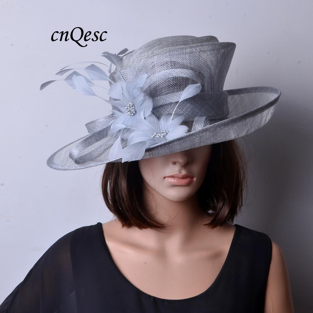 Nueva moda de plata gris sombrero Sinamay fascinante vestido formal con plumas flor para Kentucky Derby de la Iglesia de la boda de fiesta