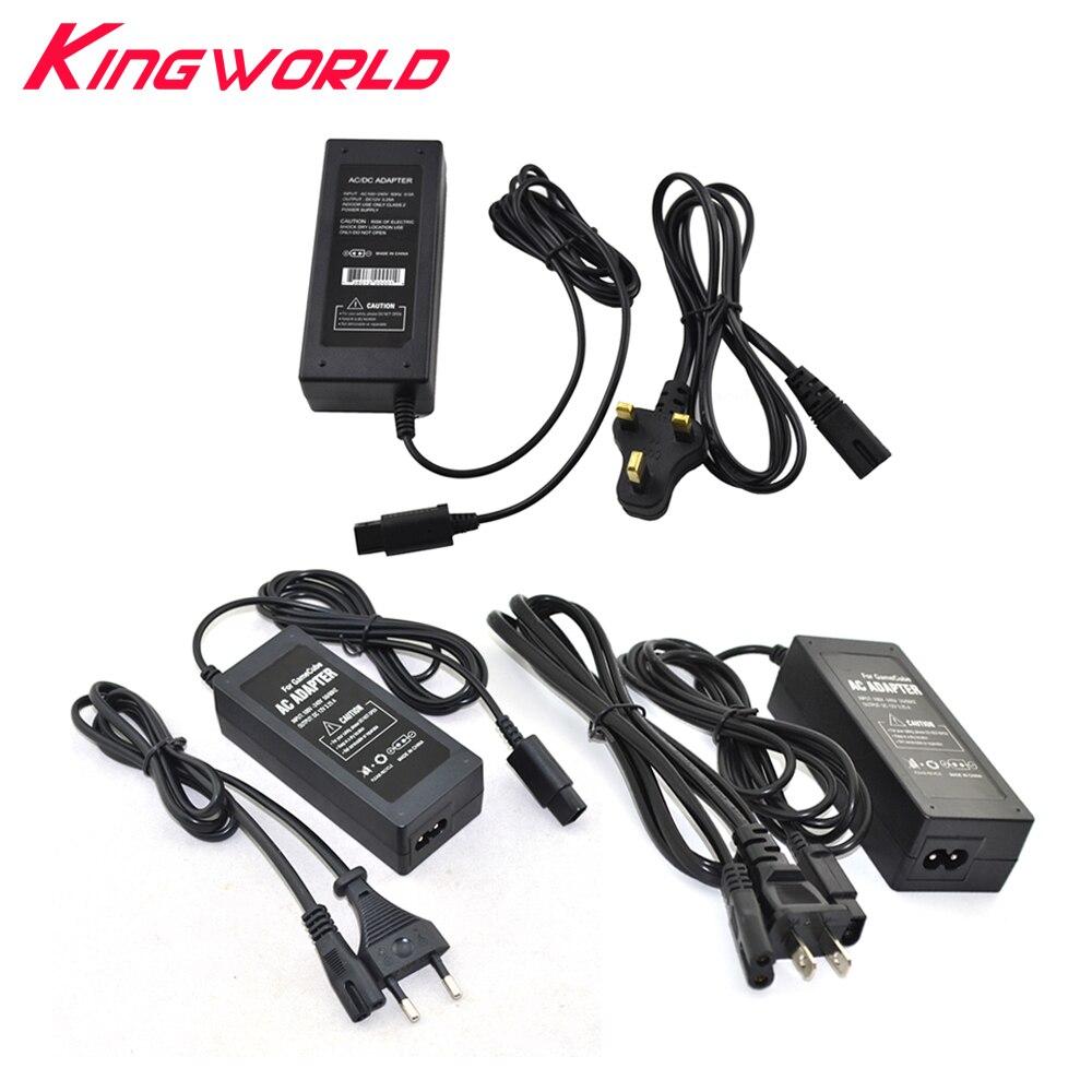10 juegos de adaptador de enchufe de CA US EU UK AU para consola de N-GC g-amecube con cable de alimentación