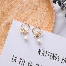 Nouveau élégant creux rond cercle charme perle fleur goutte deau pendentif boucles doreilles pour filles femmes douce fête Oorbellen 6C1005