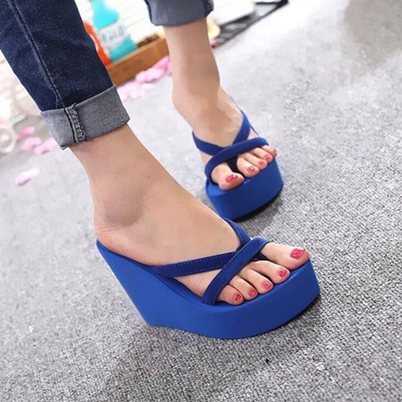 2018 Bohemia Women Casual Sandals Flip Flops Wedges Platform Ultra High Heels Women Beach Sandals Flip Flops Slippers