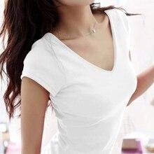 Nouvelle collection été 2020 T-shirt femmes couleur résistante à manches courtes T-shirt femmes mode coton col en v W00622