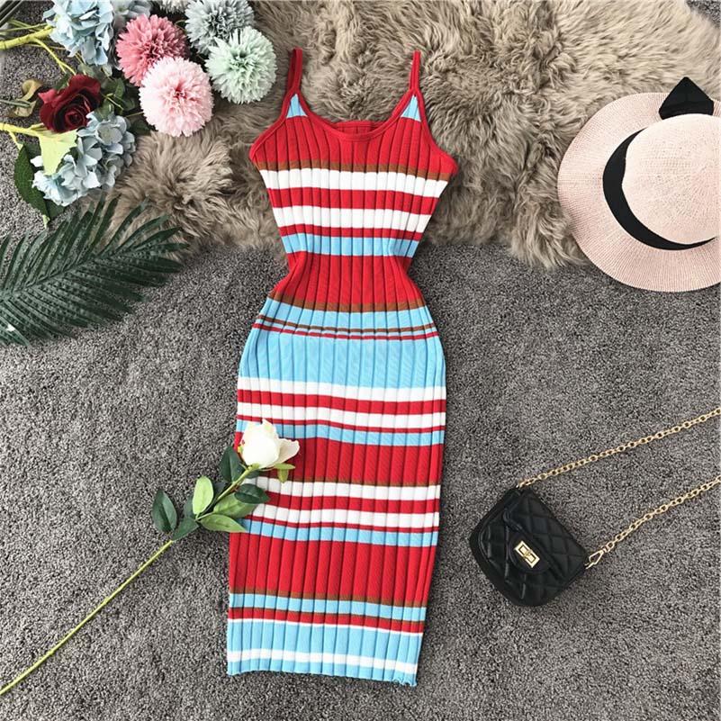 Rainbow Striped Print Robe Femme Ete 2019 Spaghettic Strap Girls Sweet Sweater Midi Dress Sheath Ladies Club Summer Vestidos