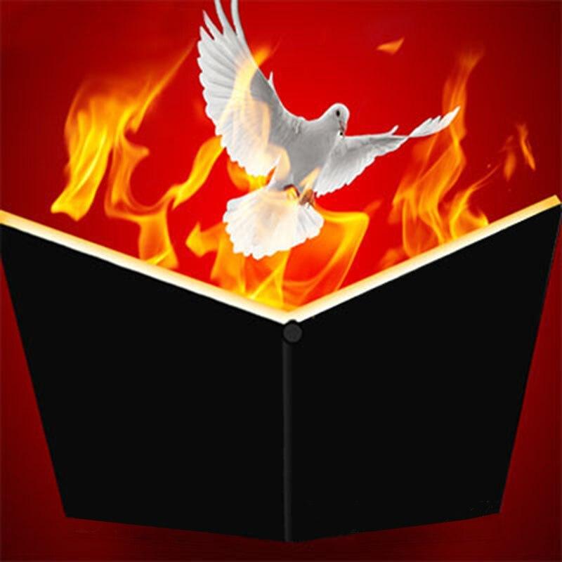 Fire Book-Libro de Magia con Paloma, trucos, diversión, escenario de Magia, objetos que aparecen en el libro de Flame Magie, accesorios para trucos de ilusionismo, magos