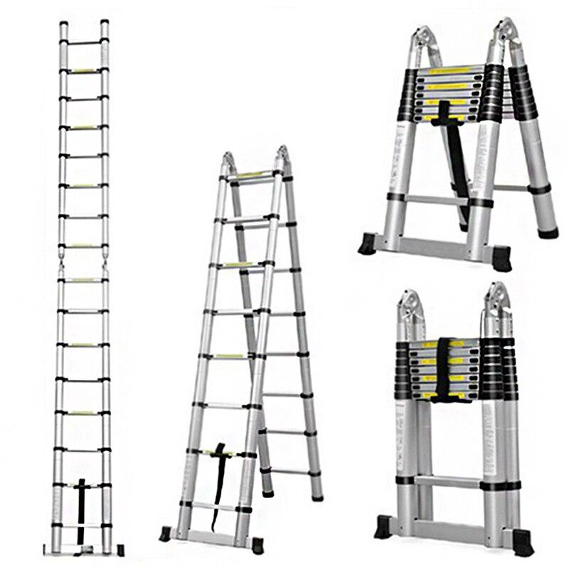 2.5m + 2.5m Aluminum Telescopic Ladder retractable folding  Aluminium with Joint Multipurpose Folding Step Ladder Portable