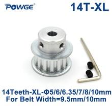 POWGE 14 Teeth XL Timing pulley Bore 5/6/6.35/7/8/10/12/14/15mm for width 10mm XL Synchronous Belt 14-XL-037 BF Gear 14teeth 14T