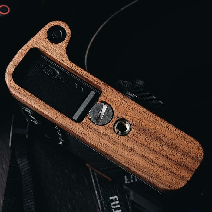 Customized Wooden Handmade Quick Release L Plate / L Bracket for FUJIFILM Fuji X100f Walnut Hand Grip Holder enlarge