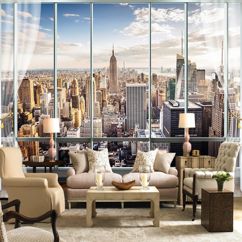 Papel pintado con foto 3D personalizado, ventana Europea 3D, Nueva York, papel pintado de alto edificio, Mural artístico, sala de estar, decoración del hogar, Fresco