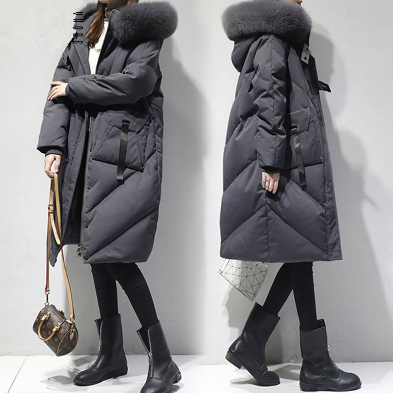 Mujer invierno talla grande grueso negro grueso capucha larga grasa Artificial piel collar abajo chaqueta 2019 nuevo
