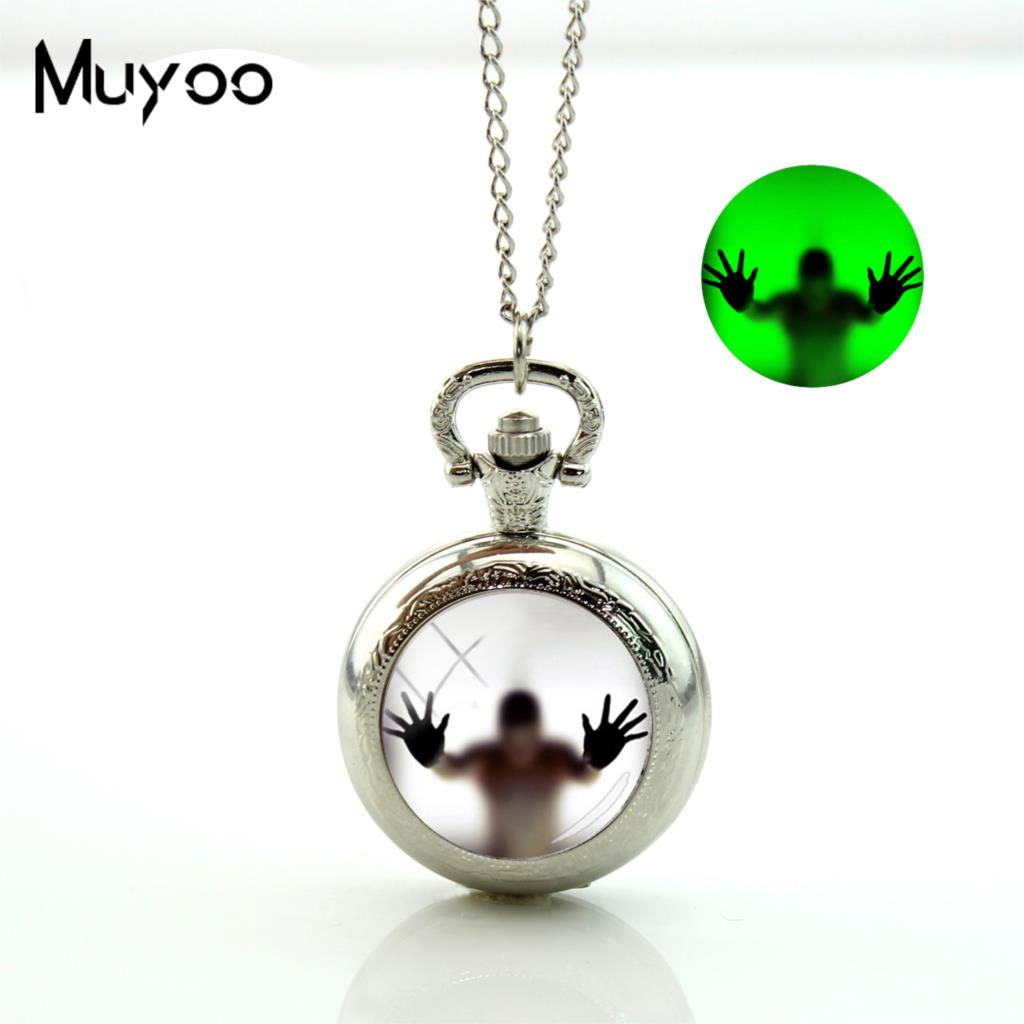 2017 New Behind The Glass Pocket Watch Vintage Long Chain Glowing Pocket Watch Necklace Hand Craft J