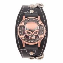 Reloj de cuarzo con cubierta de calavera para hombre y mujer, relojes de pulsera de cuero PU, relojes de pulsera para motorista, relojes de Metal para dropshipping