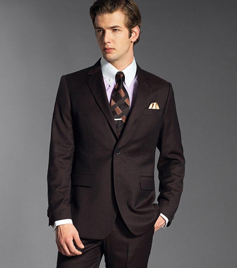 Esmoquin de solapa para novio hecho a medida, trajes de hombre de Chocolate, padrino de boda (chaqueta + Pantalones + corbata + pañuelo) B801