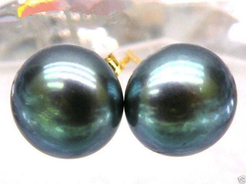 Золотые серьги, 10-11 мм, черные, павлиновые, зеленые, жемчужные, 14 k/20, бесплатная доставка