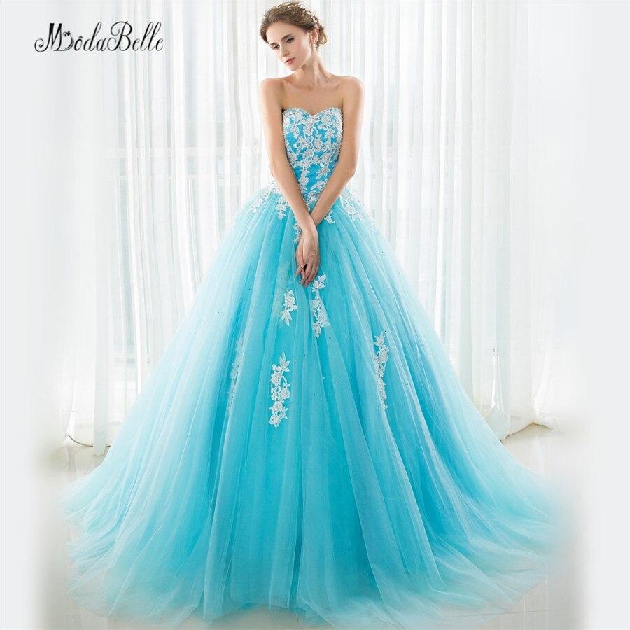 Ruffles Princess Light Blue Quinceanera Dresses Beaded Prom Gowns Dresses 15 Years Court Train Vestidos Para Quinceaneras 2016