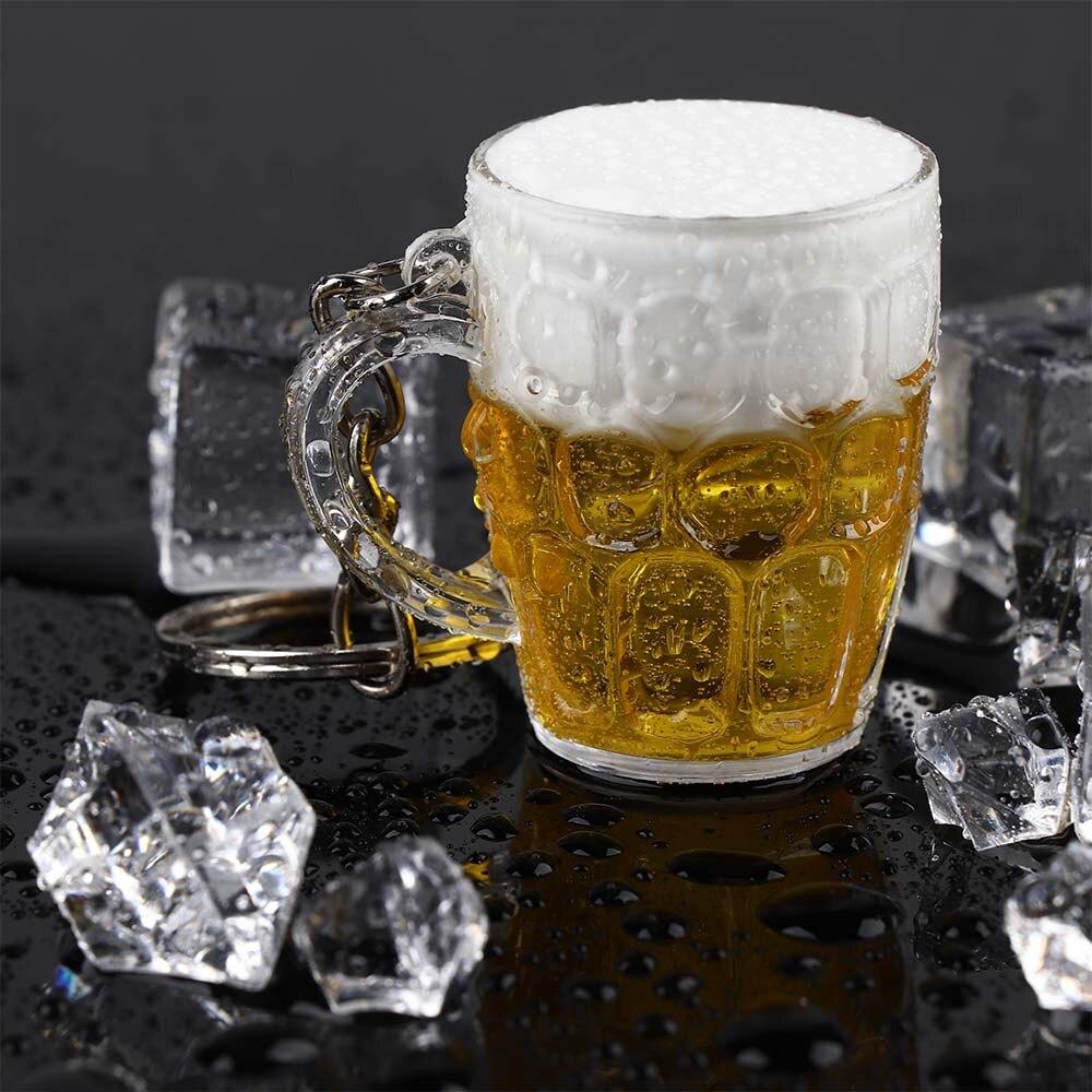 Новый креативный крутой милый мини брелок из смолы для пива и автомобиля унисекс для женщин и мужчин, имитация чашки пива, кулон, брелок, подарок, горячая Распродажа