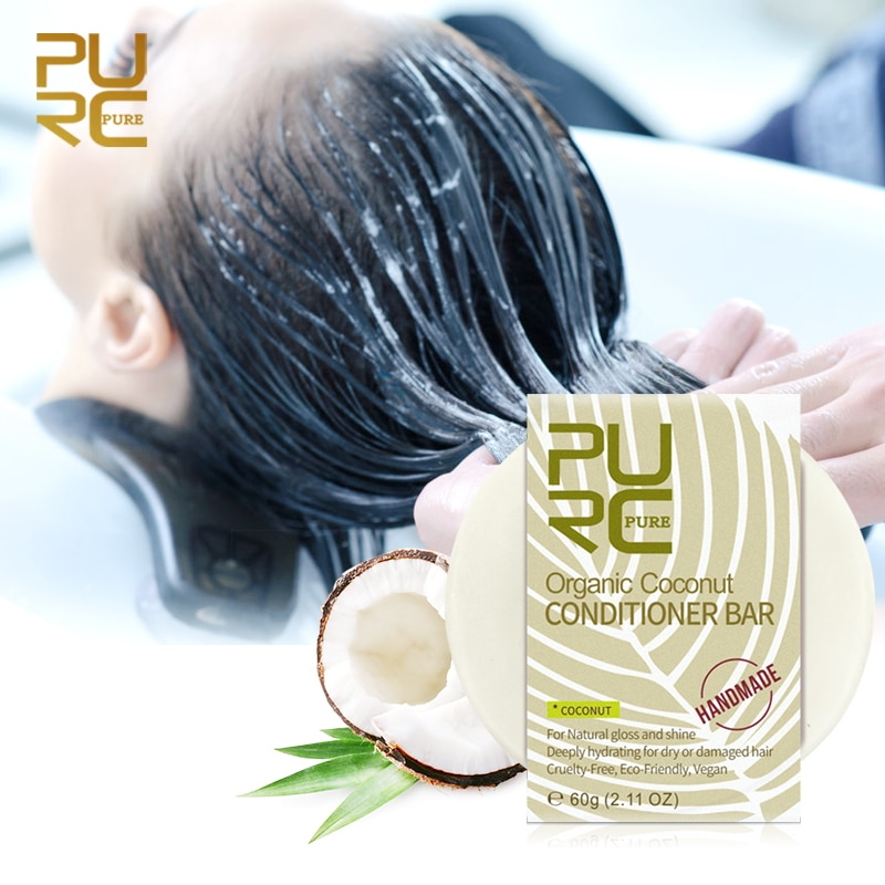 PURC Organic Coconut Conditioner bar Vegan handmade repair damage frizzy hair conditioner