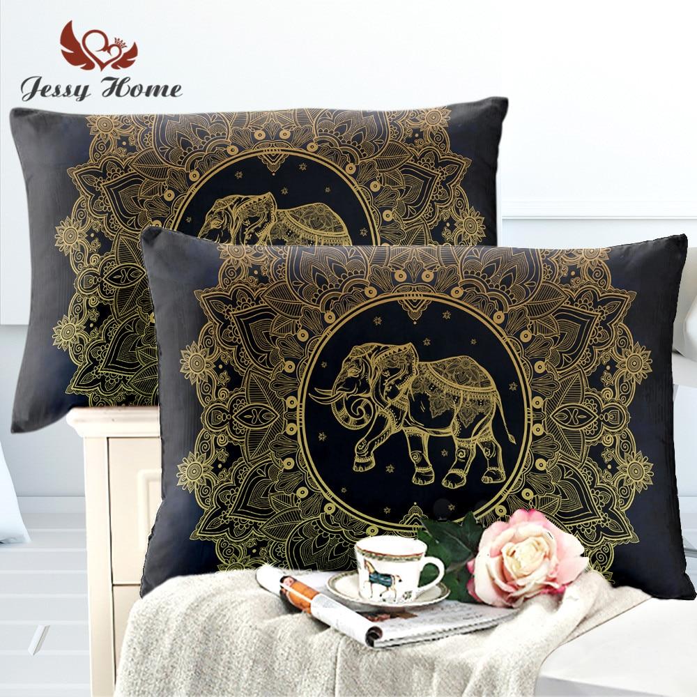 Elephant Pillow Case 2pcs 50x75 Star Pillow Sham 50x90 Indian Cushion Cover 45x45 Black/Color/Gold Buy 2 Get 1 Free m1725