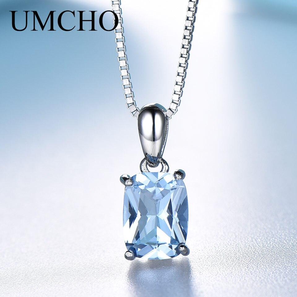 Collar con colgante de plata sólida 925 UMCHO, collar de Topacio azul cielo con piedras preciosas, regalos de boda románticos para mujeres, joyería fina