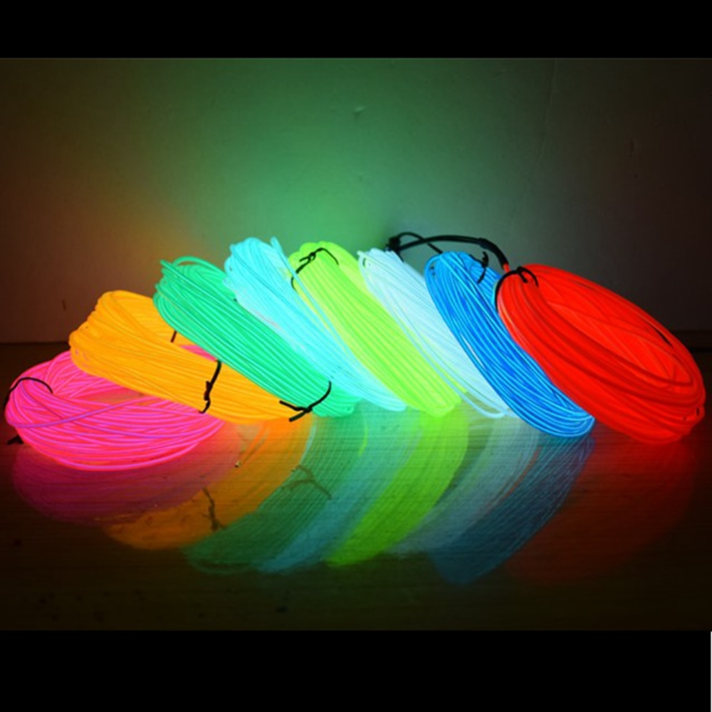 50 متر 100 متر 200 متر 500 متر EL Wire 2.3 مللي متر الأسلاك الكهربائية 10 ألوان LED قطاع مرنة ضوء النيون lumotron حبل توهج أنبوب