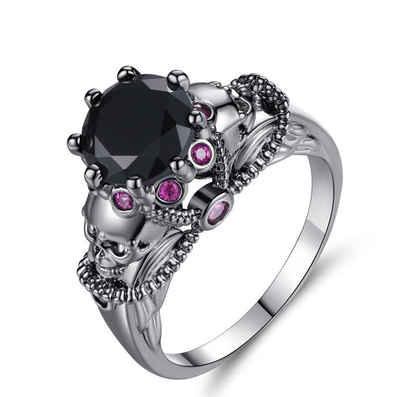 ROMAD Black Crystal Women Skull Ring Ghotic Jewelry Crystal Wedding Engagement Finger Rings Punk Rainbow Rhinestone Ring R4