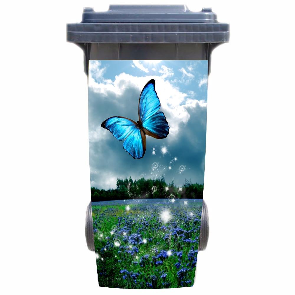 DIY 3D mariposa de jardín extraíble impermeable pegatina calcomanías basura papelera cubierta pegatina póster 120 litros 240 litros