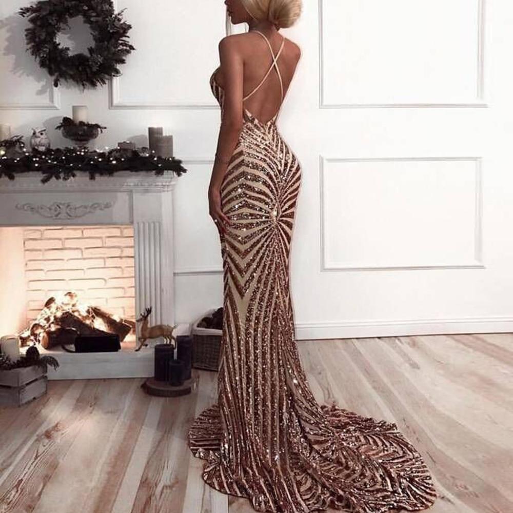 Missord 2019 Sexy v neck Elegant Striped Backless Women Dresses Sequin Bodycon Maxi Party Reflective Dress Vestidos  FT8928