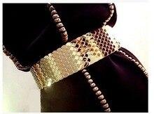 Ceinture large élastique pour femmes   Ceinture dorée, argent, ceinture dorée, ceinture de marque en métal pour femmes, ceinture de luxe