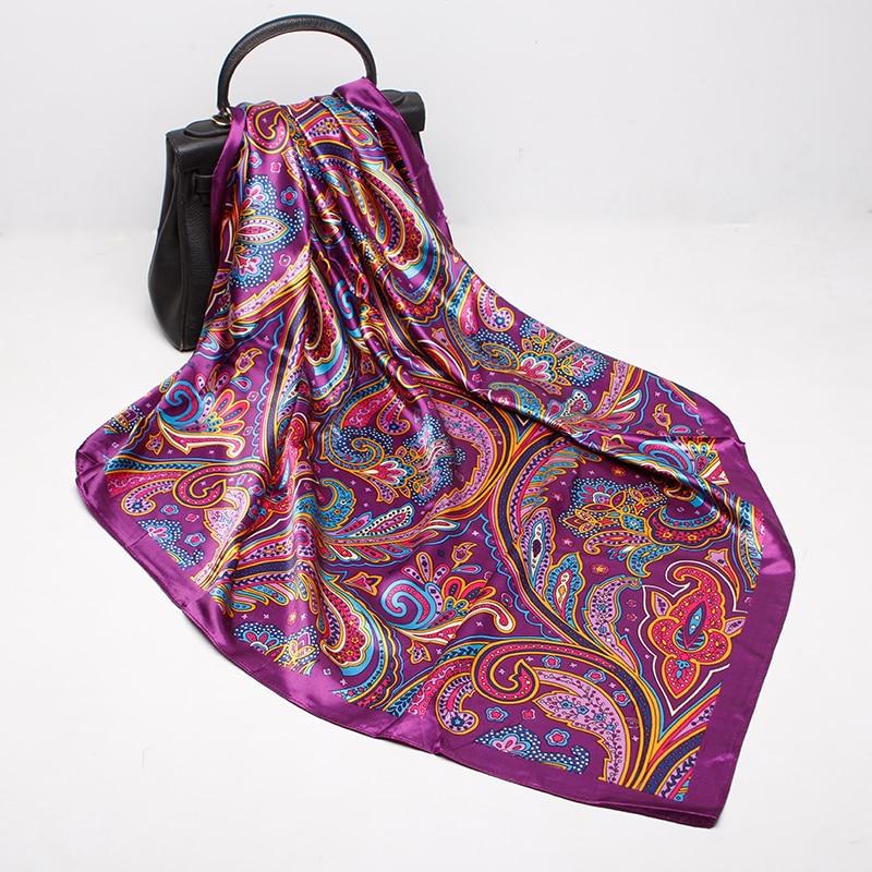 Fashion Scarves For Women Print Silk Satin Head Scarf Female 90cmx90cm Luxury Brand Square Shawl Large Hijab Scarfs Ladies
