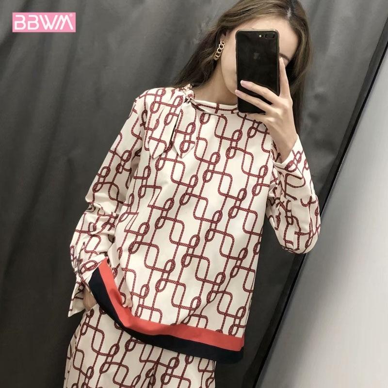 Bow-tie printed long-sleeved blouse  2019 summer elegant women's shirt  top