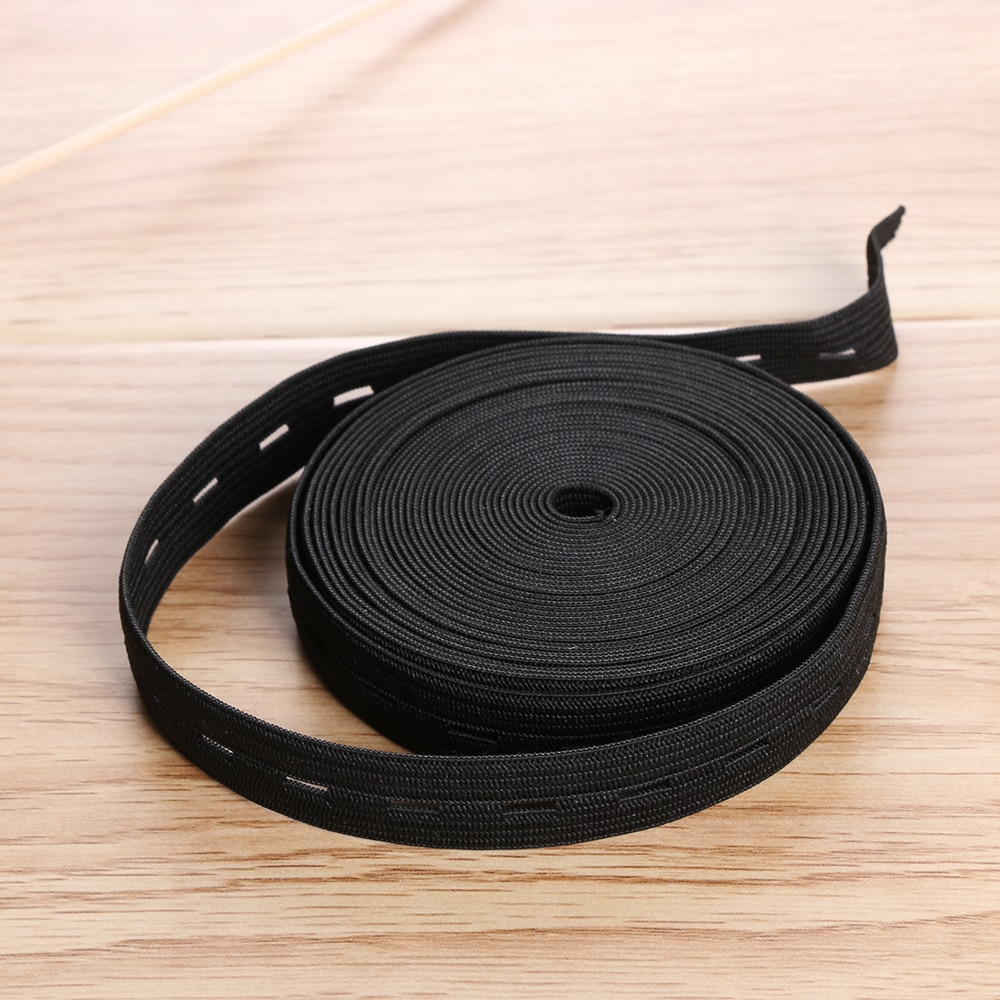 2 cm Breed Wit/Zwarte Draad Elastische Singels 5 m/10 m Lengte Button Hole Knit Elastische Band lint Tape DIY Craft Naaien Accessoires