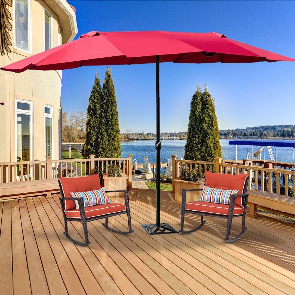 Paraguas Giantex de 15 pulgadas para exteriores, sombrilla de Patio doble cara con manivela, muebles de exterior OP3703