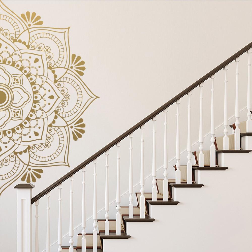 Mandala de oro, adhesivo religioso para pared para sala de estar, habitación de niños, Yoga, decoración para el hogar en vinilo, decoración de dormitorio, papel tapiz