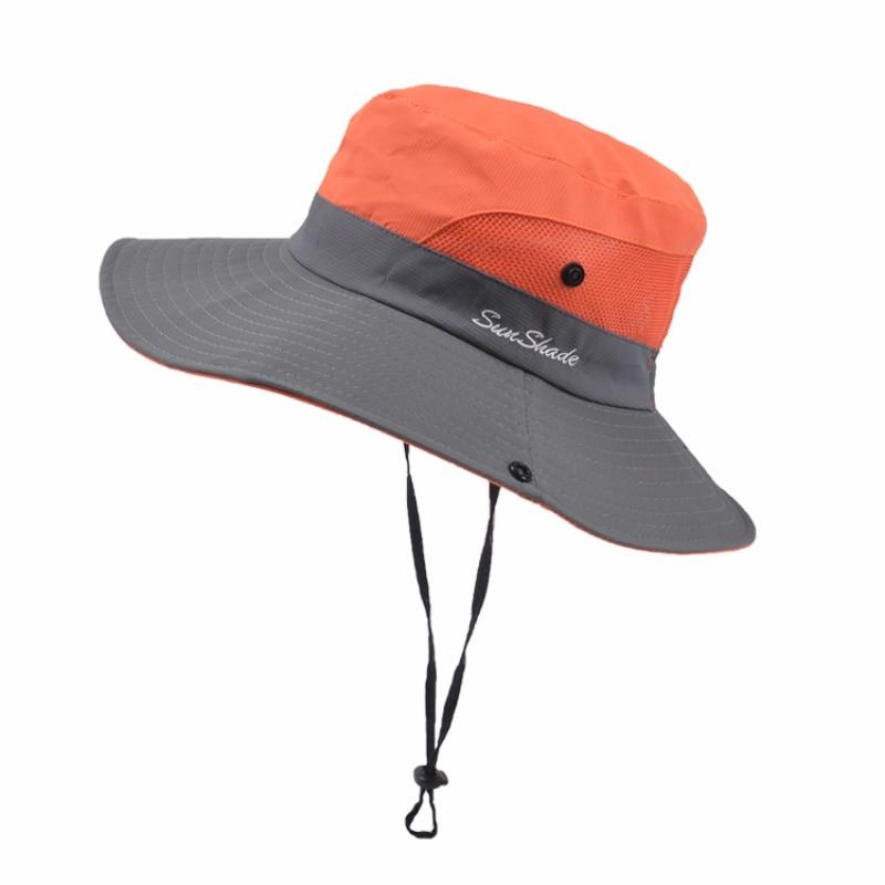 Boonie cubo sombrero de pesca sombrero de sombra protección UV al aire libre plegable malla de ala ancha hombres mujeres verano deportes al aire libre